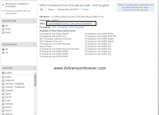 download ms office 2016 MSDN RTM full version with key
