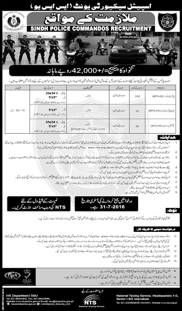 Sindh Police Jobs for Commandos and Lady Commandos Jobs