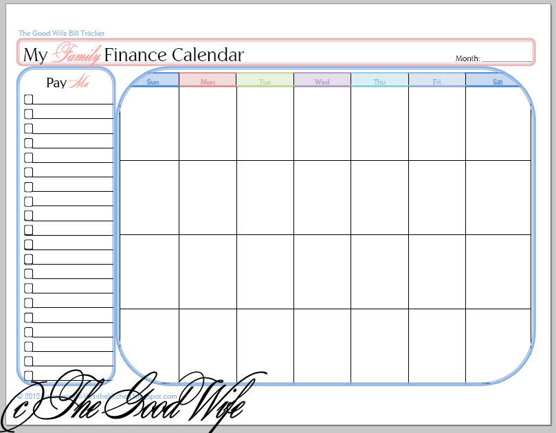 The Good Wife New Budget Worksheet - Finance Calendar and COUPON CODE