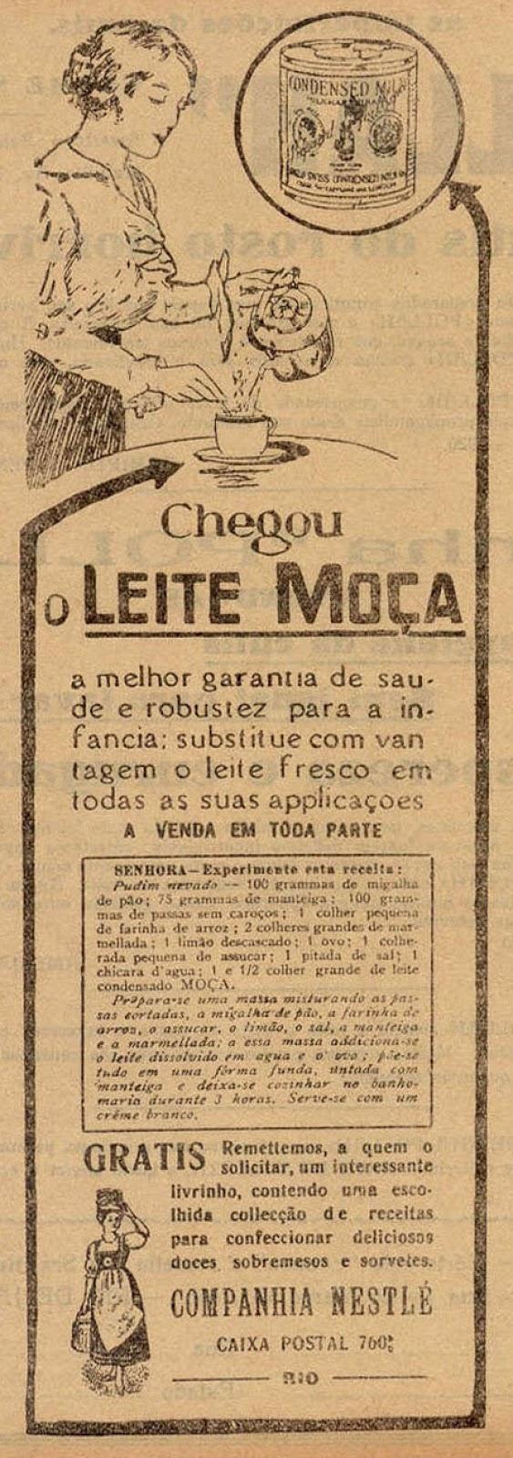 Campanha de lançamento do Leite Moça em 1922 com indicação de suplemento ao leite materno