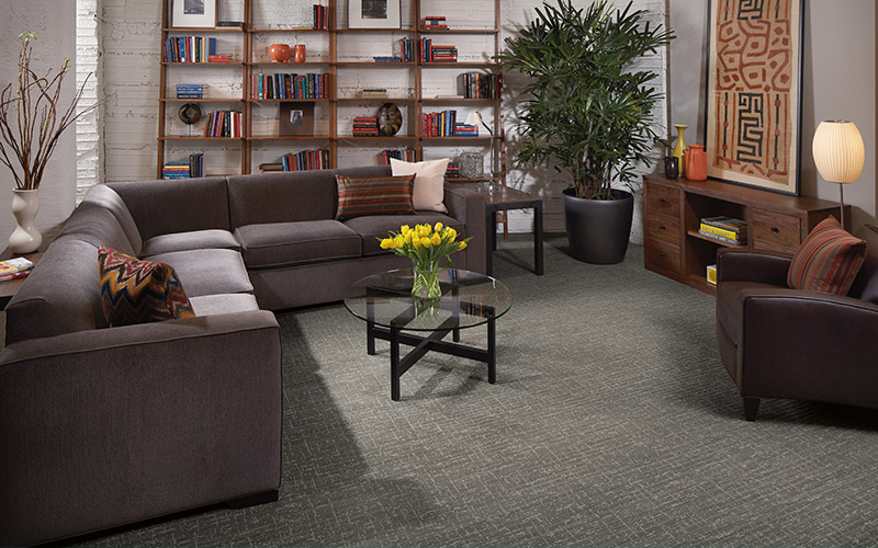 This gray patterned carpet is trendy and beautiful