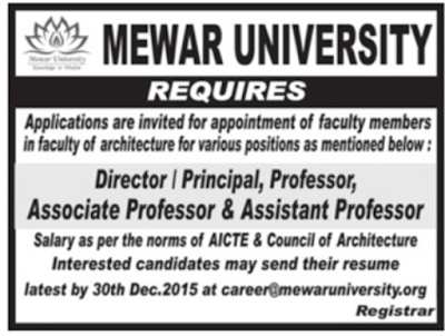 Mewar University Vacancy 2016 www.indgovtjobs.in