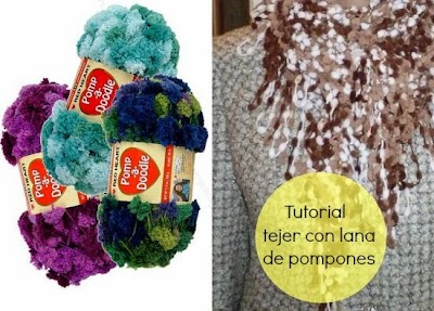 Tejiendo con lana de pompones tutorial