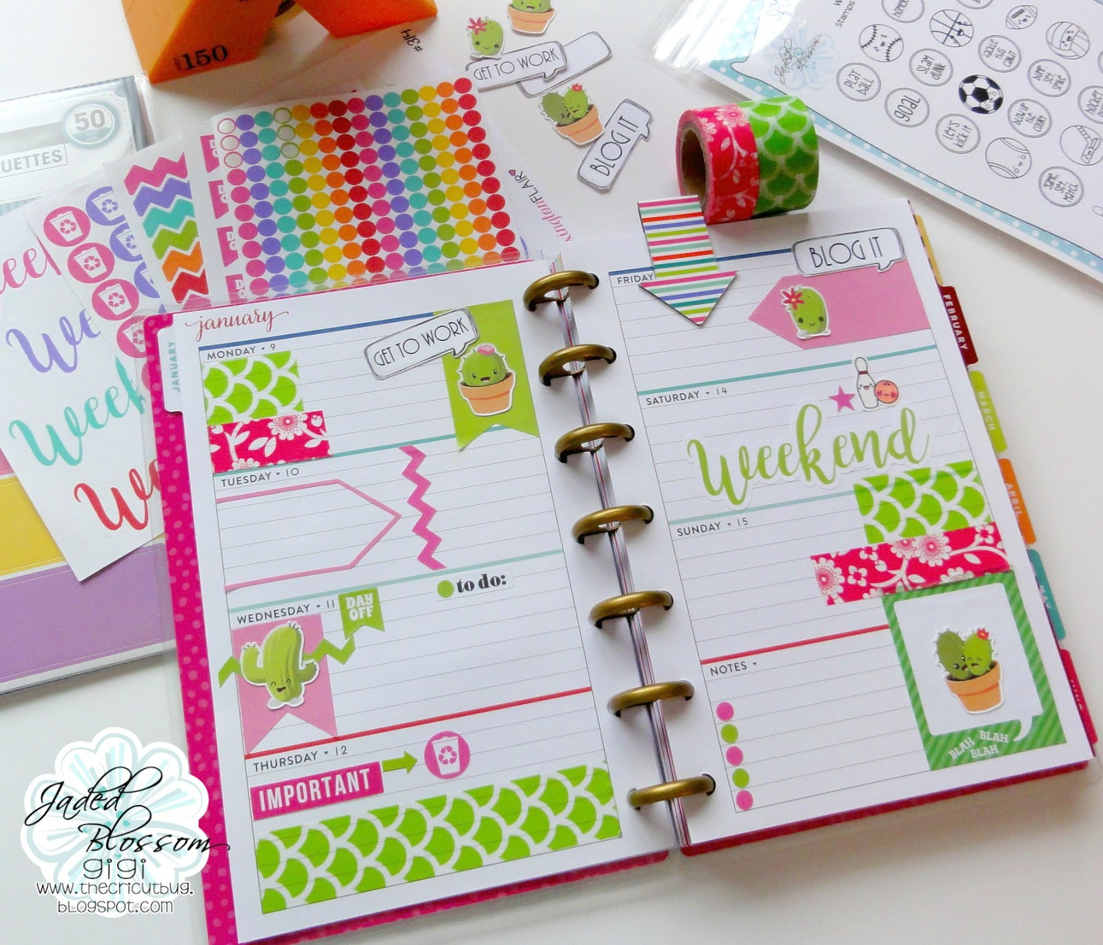 The cricut bug cactus planner pages mini happy planner for Happy planner ideas