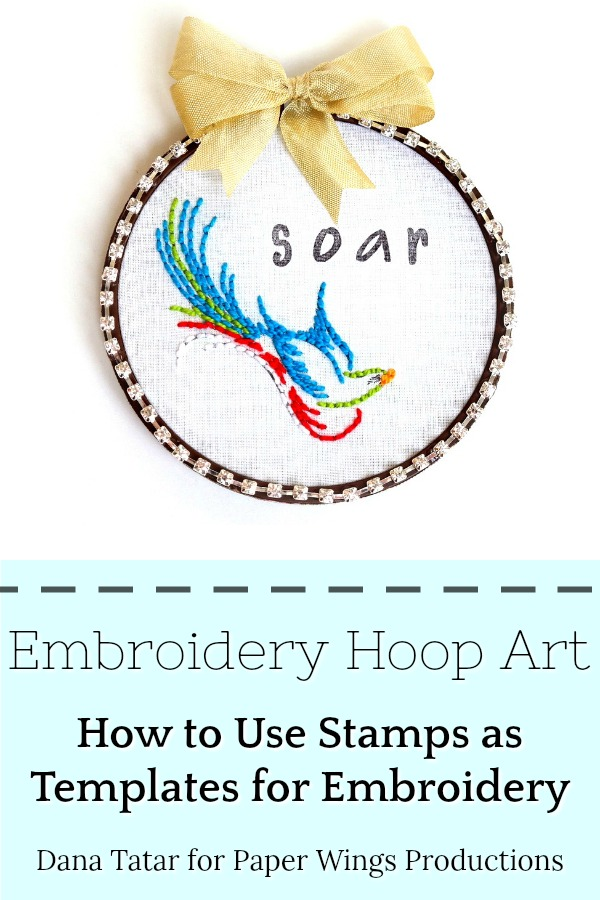 Embroidery Hoop Art with Stitched Bird and Stamped Letters