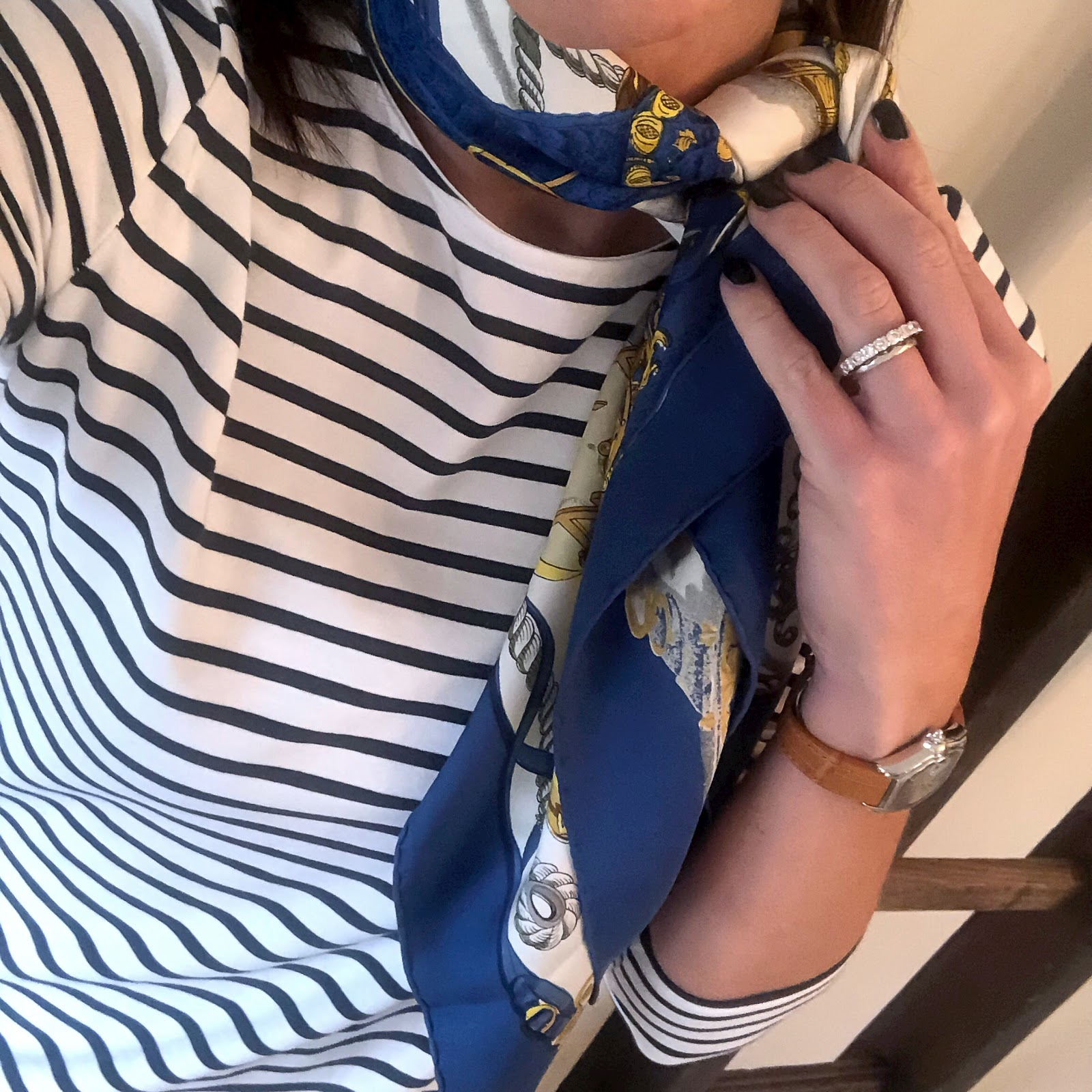 my midlife fashion, hermes silk scarf, the white company essential breton top, gucci GG logo 2cm belt, hush turn up boyfriend jeans, cocorose london harrow two ballet pumps