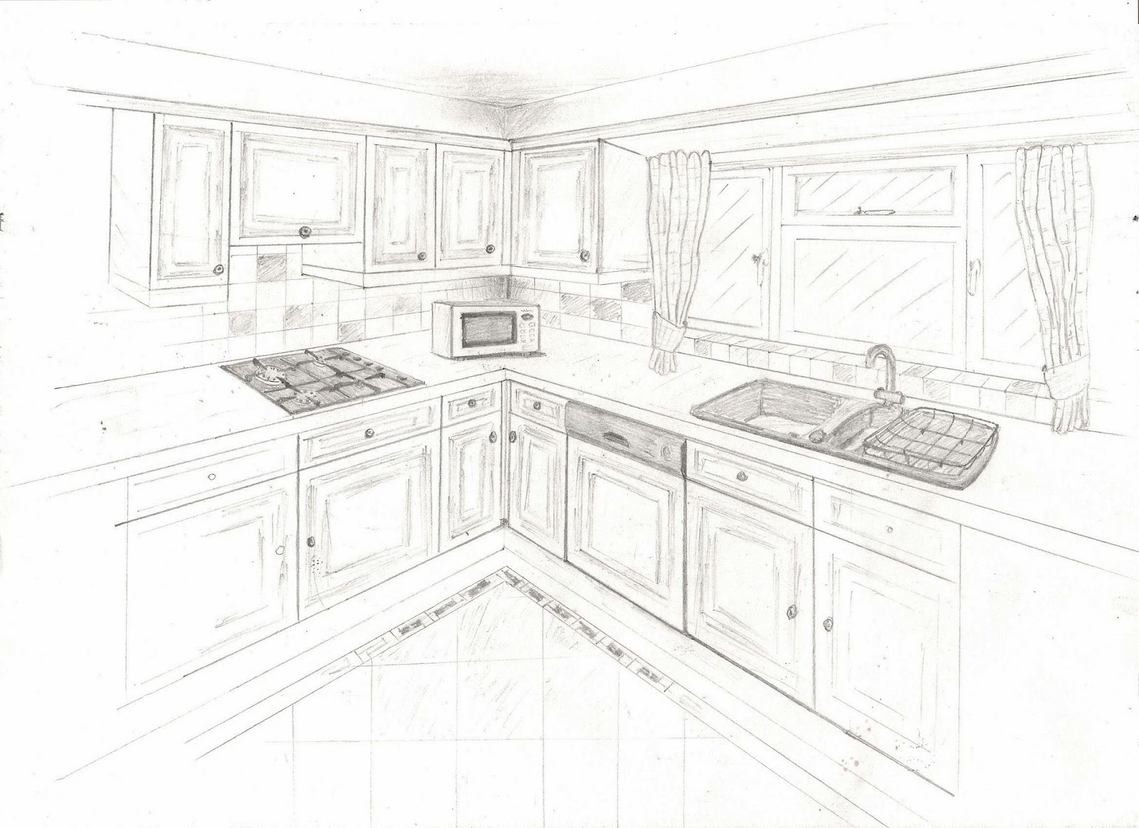 A two point perspective interior sketch of my home kitchen