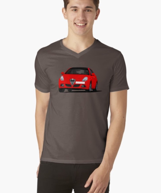 Red Alfa Romeo Giuletta t-shirt in Redbubble