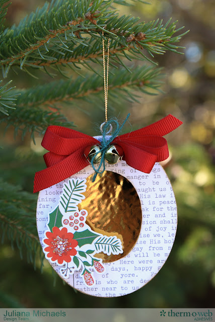 Altered Wooden Christmas Ornament Frames by Juliana Michaels featuring Therm O Web Deco Foil and Adhesives