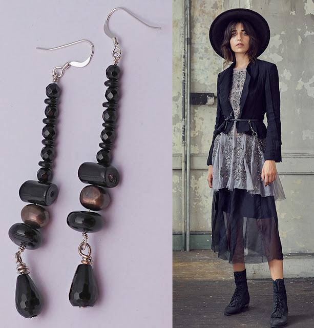 orecchini pendenti lunghi onice agata nera perle di fiume bronzo