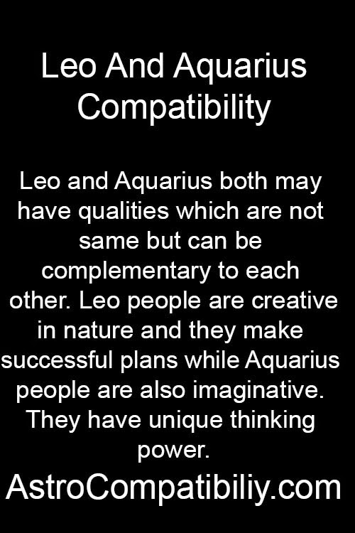 Is aquarius compatible with leo