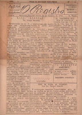 """Jornal """"O Registro"""", nº 5, de 12-10-1925."""