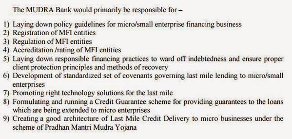 Key Objectives of Mudra Bank