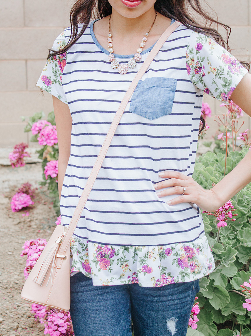 striped t-shirt with floral sleeves