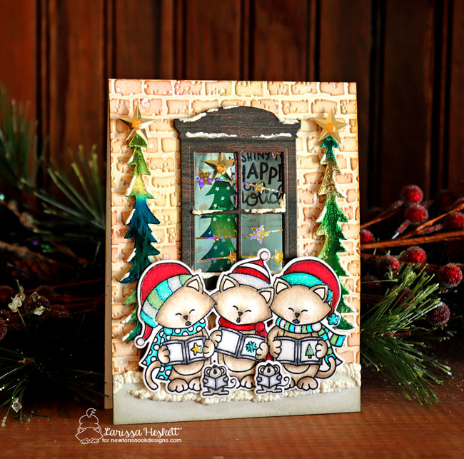 Newton's Nook Designs & Therm O Web Inspiration Week | Caroling Card by Larissa Heskett | Caroling Newton Stamp Set by Newton's Nook Designs and Foils by Therm O Web #newtonsnook #handmade