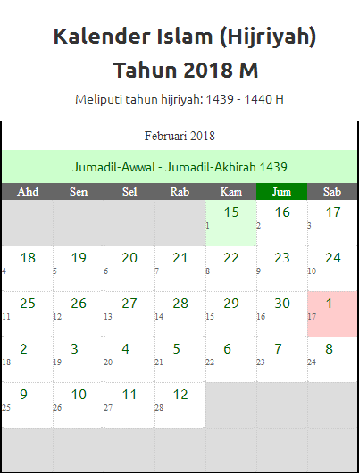 Kalender Hijriyah Februari 2018