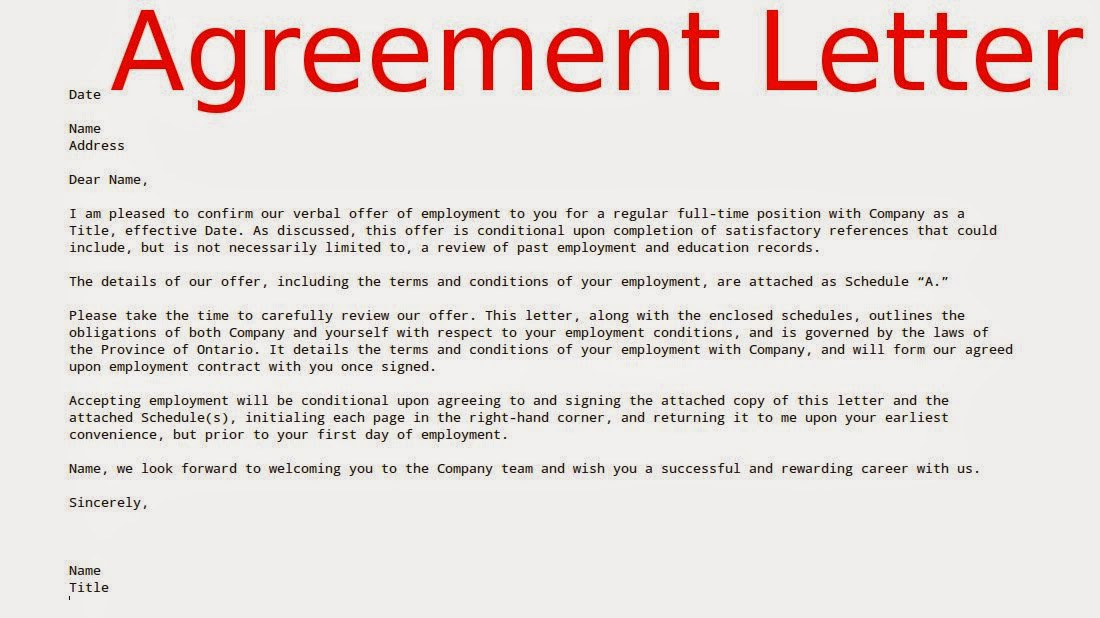 Examples Agreement Letters Samples Business Letters