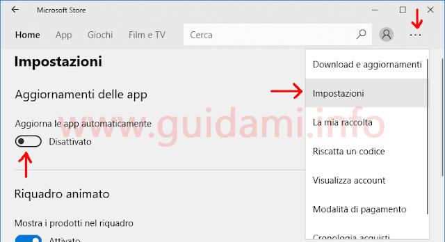 Microsoft Store Impostazioni per disattivare aggiornamento app automatico