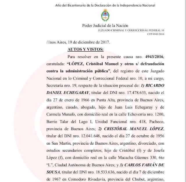 Cristóbal López y Fabián De Sousa procesados, con prisión preventiva y ordenes de detención