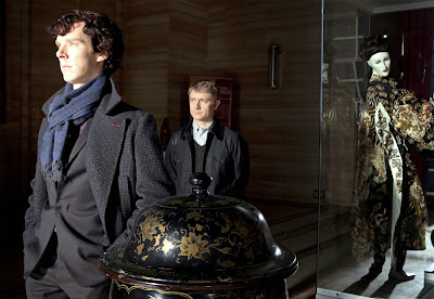 Benedict Cumberbatch and Martin Freeman as Sherlock Holmes and John Watson in BBC Sherlock Season 1 Episode 2 The Blind Banker