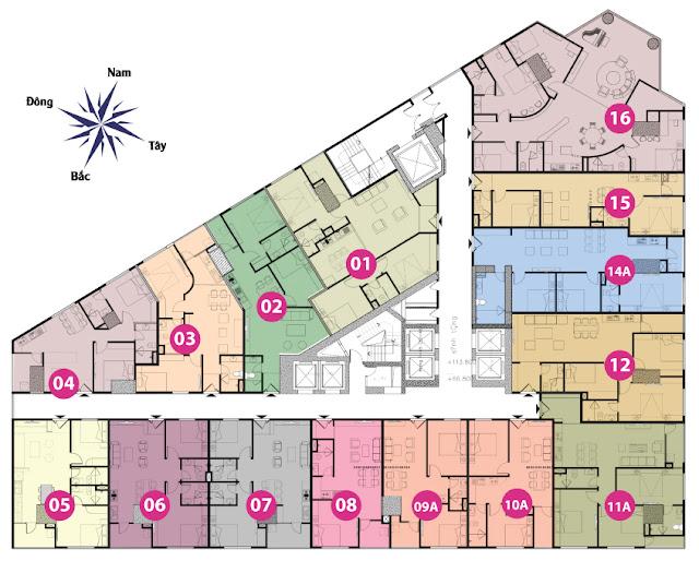 Mặt bằng tầng 18 đến tầng 33 tháp doanh nhân