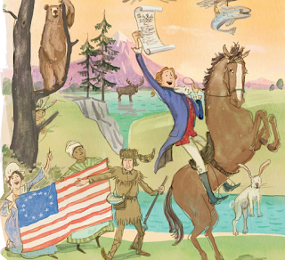 Image from inside of book, showing Thomas Jefferson on a horse, an Indian peeking from behind a tree, and an Black woman (likely enslaved), holding a US flag.