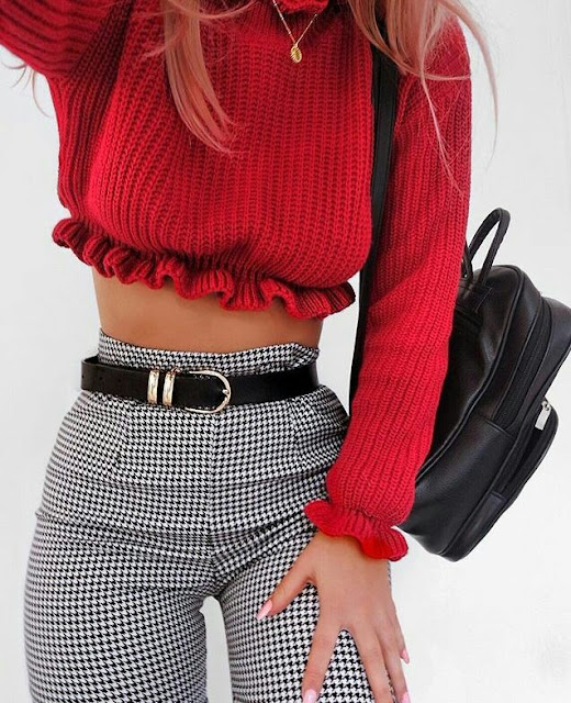 Crop-knit-sweater-with-check-pant