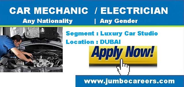 Electrician Salary in Dubai. High end car mechanic Dubai Jobs.