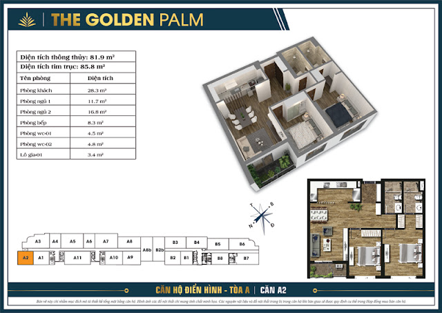Mặt bằng căn A2 tòa A chung cư The Golden Palm