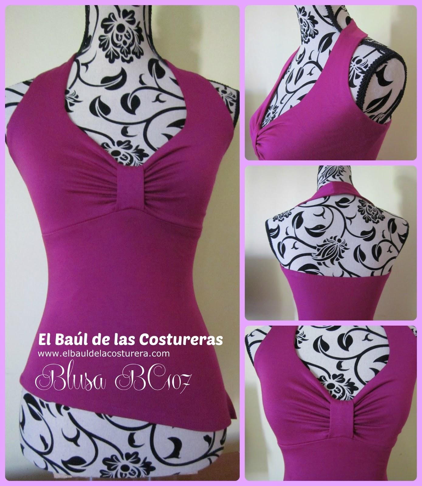 Instrucciones de confección y patrón de costura blusa escote halter