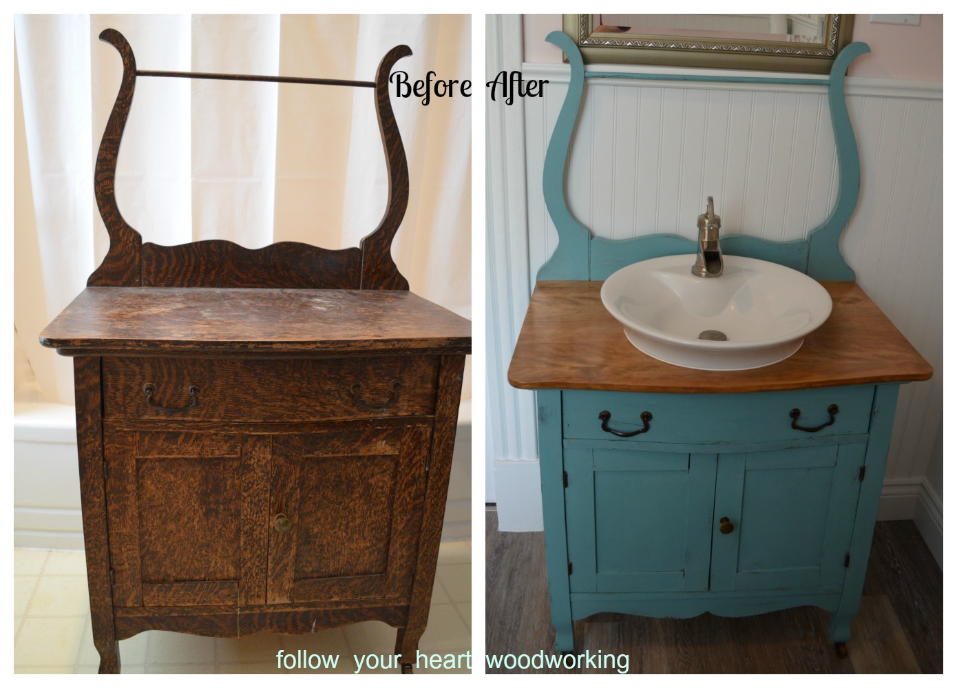follow your heart woodworking bathroom renovation part 5 the commode turned into a vanity. Black Bedroom Furniture Sets. Home Design Ideas
