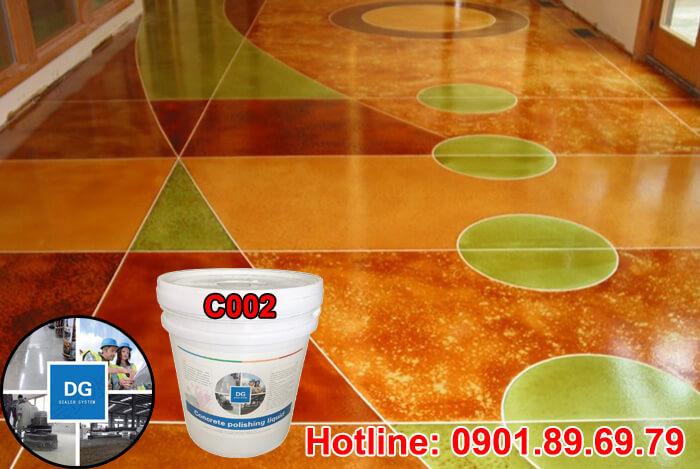 thi công nhuộm màu sàn bê tông với hóa chất nhuộm màu sàn bê tông DG C002