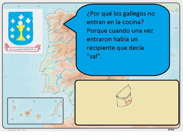 """¿Por qué los gallegos no entran en la cocina?. Porque cuando una vez entraron había un recipiente que decía """"sal""""."""