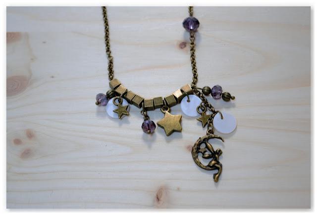 pendentif lune et fée asymétrique bronze vieilli et indigo