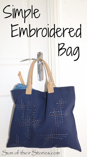 Simple running stitch embroidery used to embellish a tote bag