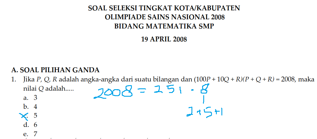 Contoh Soal Olimpiade Matematika Smp Beserta Pembahasan Kumpulan Soal Pelajaran 8