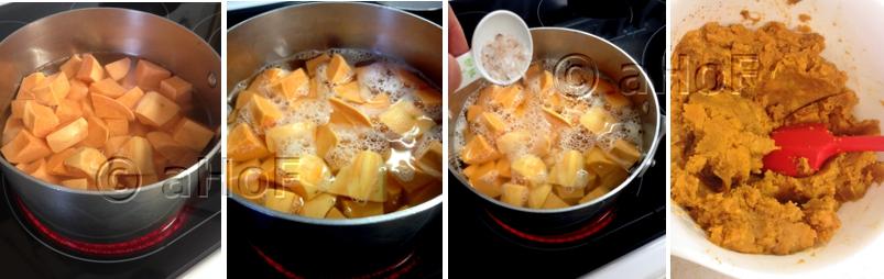 Making sweet potato casserole