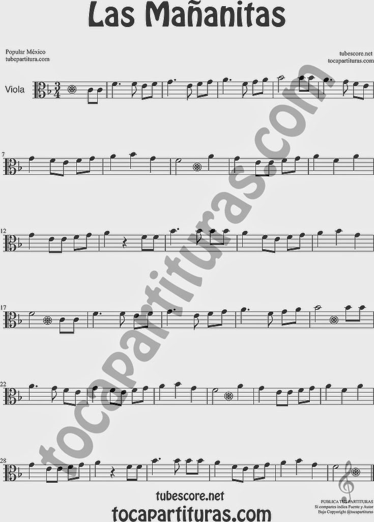 Las Mañanitas Partitura de Viola Sheet Music for Viola Music Score