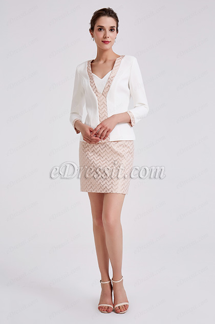White Two Pieces Suit Mother of the Bride Dress