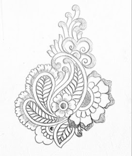 Hand emroidery flower motifs pencil sketch on tracing paper.  Butta khaka design drawing for hand emroidery saree designs.