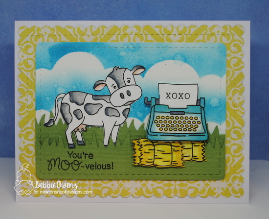 You're Moo-velous by Debbie features Moo, My Type, Frames & Flags, Sky Borders, and Land Borders by Newton's Nook Designs; #newtonsnook
