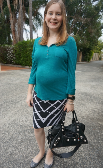 AwayFromBlue | 2nd trimester asos maternity pencil skirt teal henley business casual office