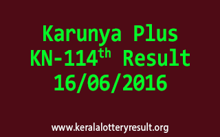 Karunya Plus Lottery KN 114 Results 16-6-2016