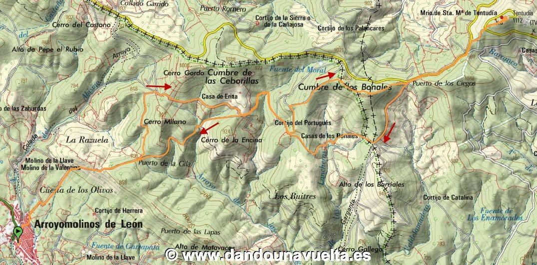 Recorrido Bonales y Tentudía, picos Huelva y Badajoz