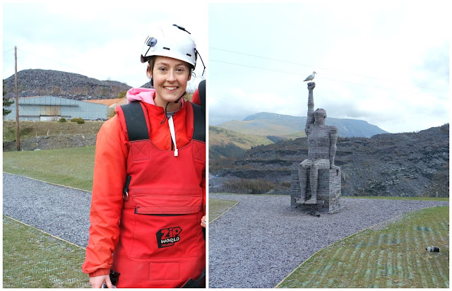 left: lyd wearing red zip world overalls and helmet. right: a statue at zip world at the edge of a quarry