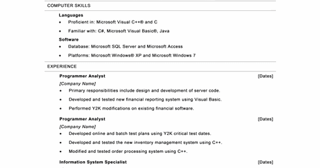microsoft office 365 sample resume templates computer programmer