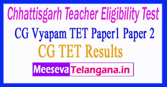 Chhattisgarh Teacher Eligibility Test CG TET Results 2018