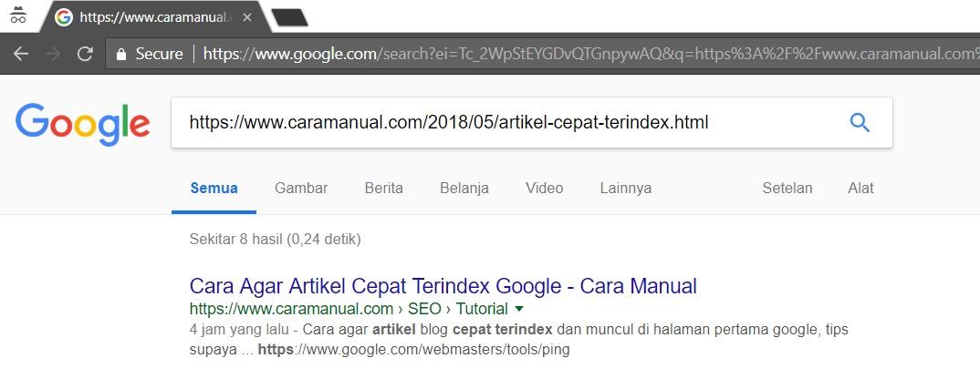 Cara Agar Artikel Cepat Terindex Google 1