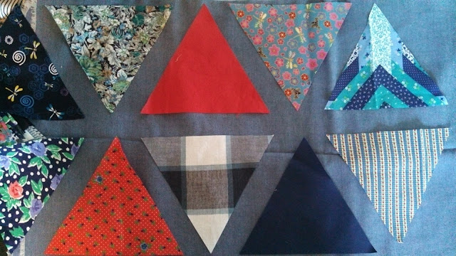 Clothing memory quilt - triangles with sashing
